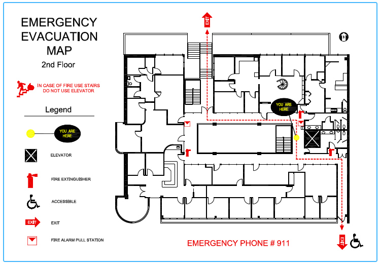 Emergency evacuation maps precision floor plan for Fire evacuation plan template for office